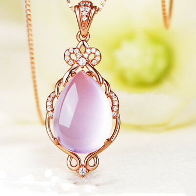 Luxury Tear Drop Rose Gold Pink Hibiscus Stone Pendant Necklaces