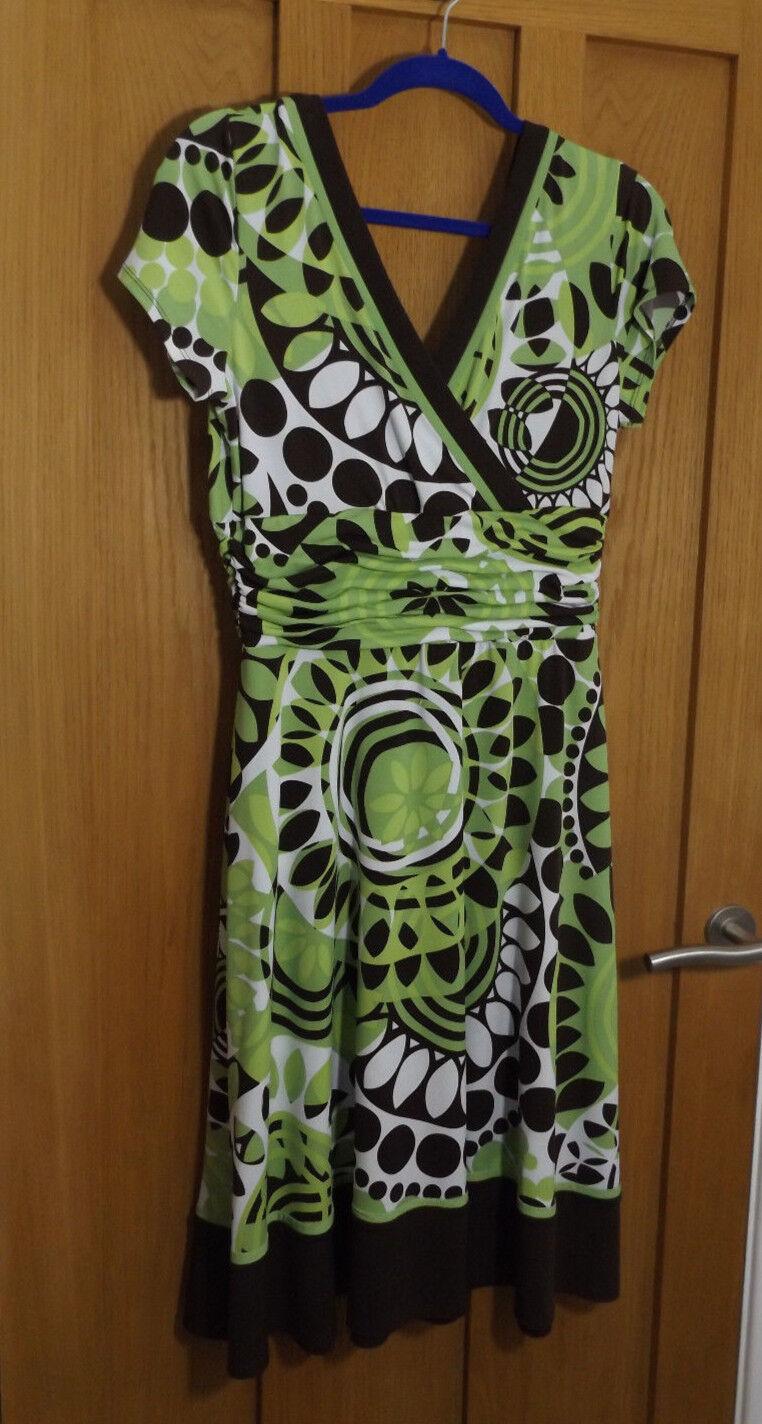 Sandra Darren T K Maxx lime green brown stretch fit flare dress new 12 Medium