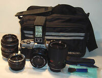 Minolta X-370S 35mm SLR Film Camera with extras