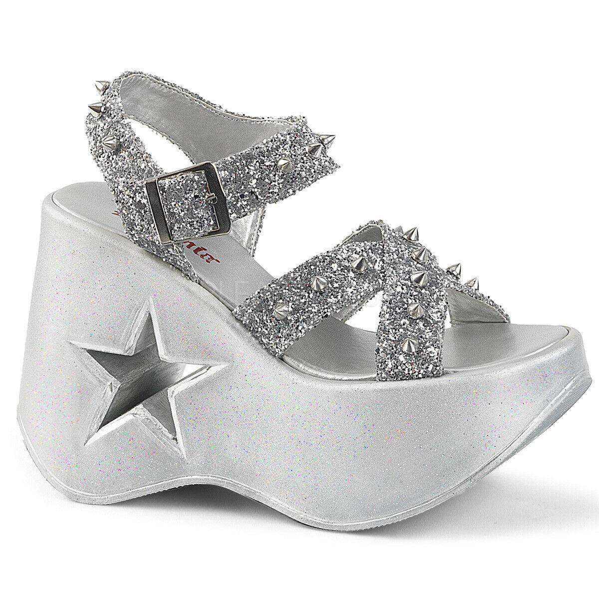 Demonia DYNAMITE-02 Women's Silver Glitter Ankle Strap Platform Wedge Sandals