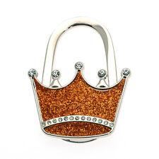 Textured Metal Crown Shape Handbag Bag Purse Hanger Table Hook Shimmery Orange