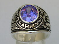 925 Silver United States Army Military February Amethyst Cz Stone Men Ring 11