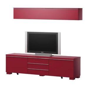 best ikea burs tv unit bench high gloss cabinet ebay. Black Bedroom Furniture Sets. Home Design Ideas