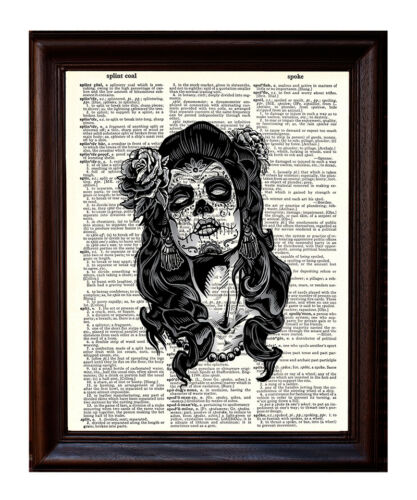 Day of the Dead Girl Spooky Eyes Dictionary Art Print Printed On Authentic Page