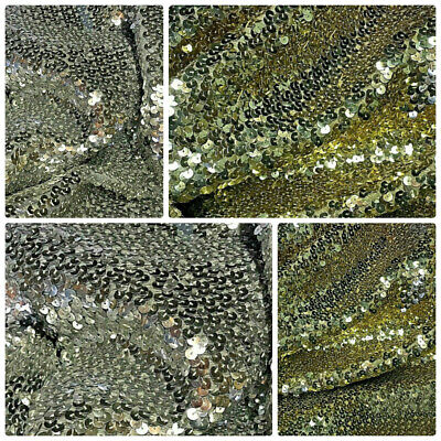 """Sequin Fabric Glitter Bling Slight Stretch By The Metre All Colours 30/"""" Wide"""