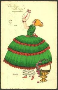 Vintage-Easter-Postcard-Girl-in-Green-Dress-With-Large-Easter-Egg-Douky