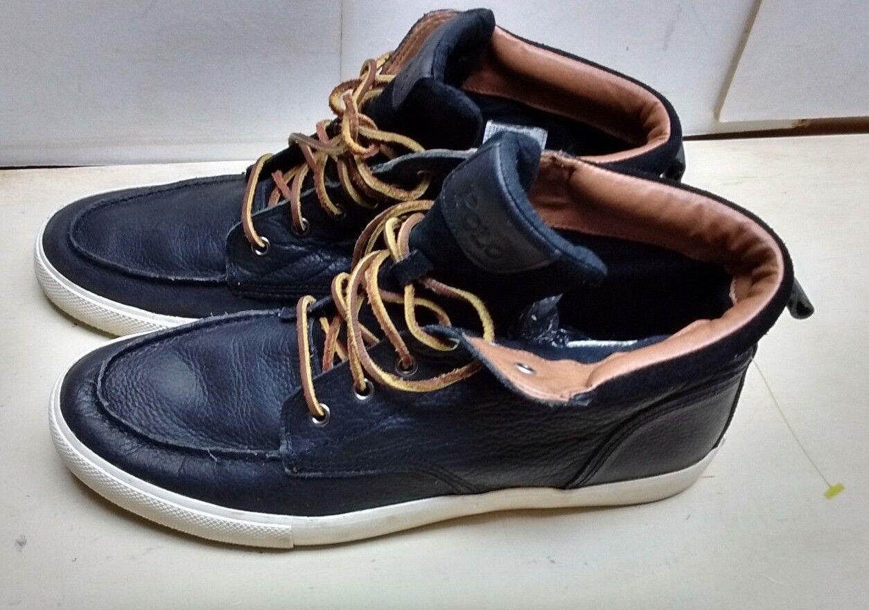 Polo Ralph Lauren Tedd Men Leather Black Fashion Sneaker Hi Top Lace Up shoes 12M