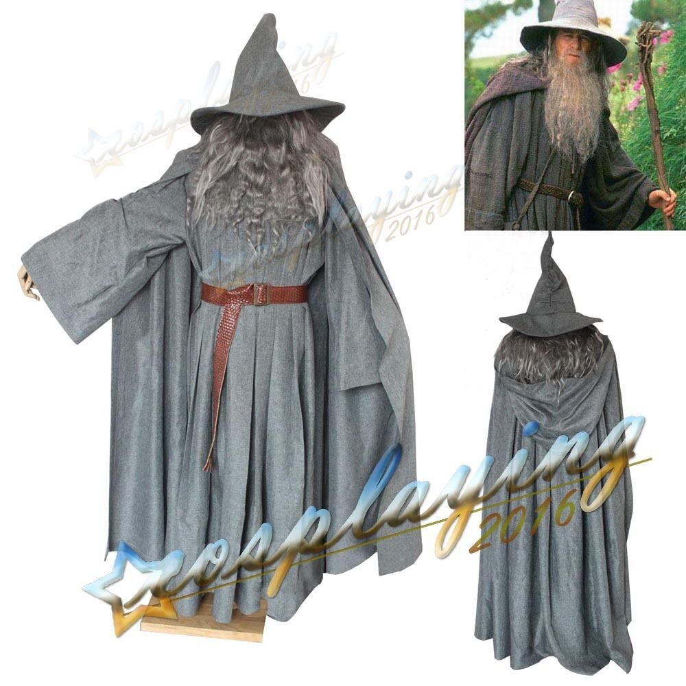 Gandalf Cosplay Costume The Hobbit Lord of the Ring Prop Cloak Hat Halloween Set