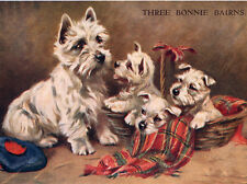 WEST HIGHLAND WHITE TERRIER CHARMING WESTIE DOG GREETINGS NOTE CARD MUM & 3 PUPS