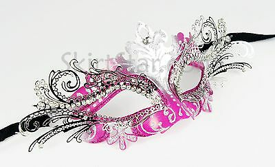 Laser Cut Metal Venetian Mask Masquerade Ball Hot Pink Silver Rhinestone Prom