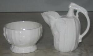 Vintage-White-Creamer-amp-Sugar-Bowl-Vines-Pumpkin-Squash-Czechoslovakia-cream