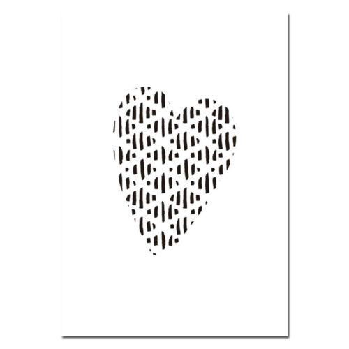 Com Desenho De Coração Preto Branco Lona Poster Impressão De Arte berçário crianças decoração Da Sala