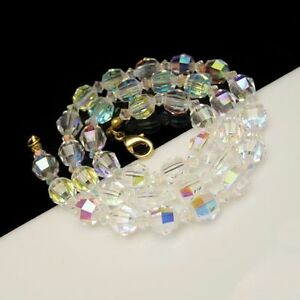Vintage-Crystal-Beads-Necklace-Aurora-Boralis-AB-Gorgeous-Sparkling