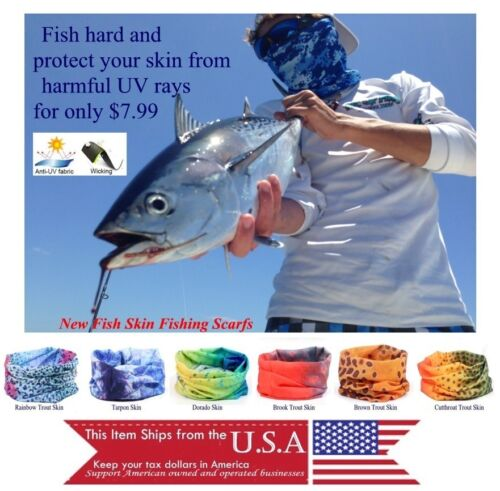 Scarf Fish Skin Patterns UVP Balaclava Sports Seamless Tube Microfiber Wicking
