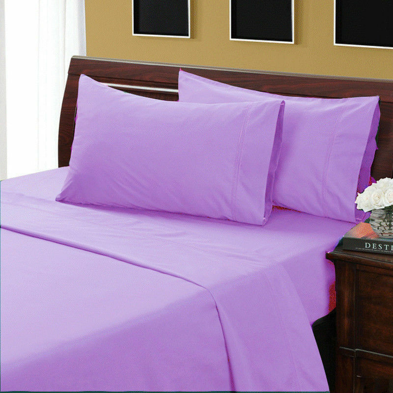 1000 TC Ultra Soft Egyptian Cotton All Bedding Items & US Sizes purplec Solid