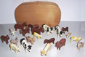 Convolute-Ancient-Erzgebirge-Animals-For-Farm-20-Pieces-Chip-Box-Before-1945