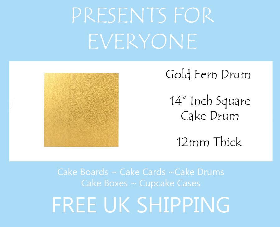 20 x 14  Inch Square Gold Wedding Birthday Cake Drum   Board 12mm
