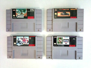 Lot-of-4x-Super-Nintendo-SNES-Games-Carts-Only-PTO-Top-Gear-NHL-Madden-Koei