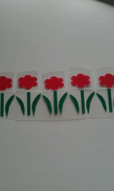 Hotfix iron on transfers 20 red flowers with stalks 3cm x 2cm