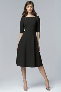 Robe-noire-cintree-evasee-elegante-manches-3-4-Nife-S63-manches-3-4