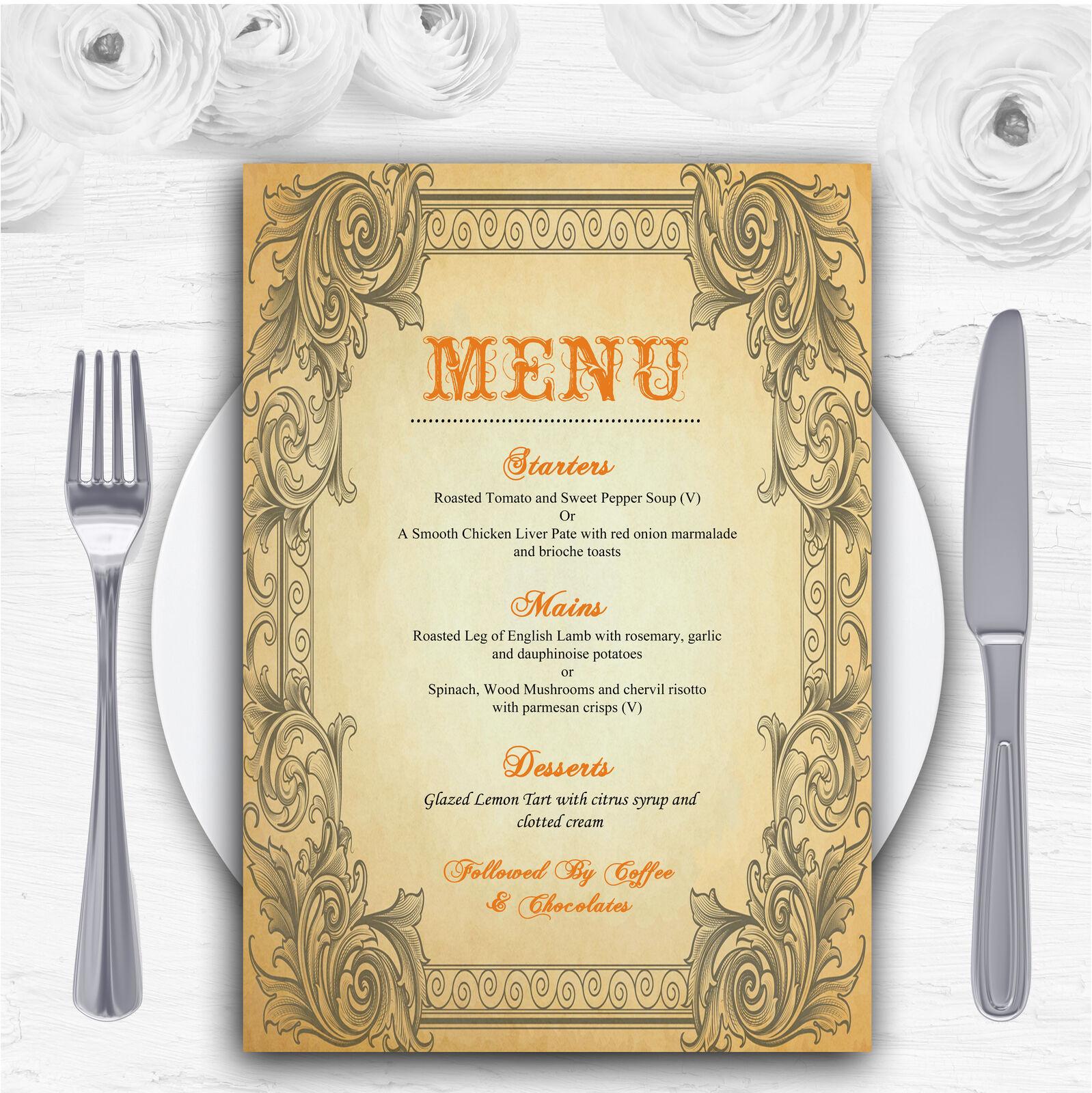 Typography Vintage Orange Postcard Personalised Wedding Menu Cards
