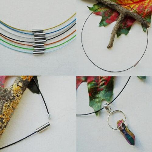 1 x Kette, Edelstahl Reif, Halsreif, Magnetverschluss - grün, blau, silber, gold