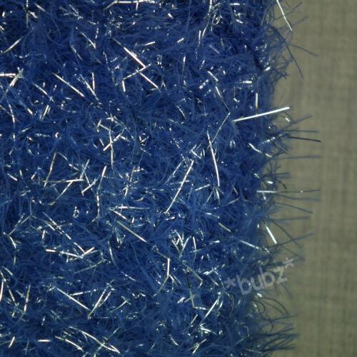 Hilado de plumas suaves Brillo 4 capas Real Azul Y Plateado 500g Cono 10 bolas de tejer