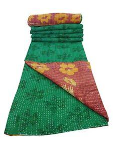100-Organic-Cotton-Handmade-Indian-Reversible-Kantha-Quilt-Gudari-Ethnic-Decor