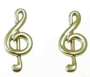 9ct Gold Treble Clef Stud Earrings MFOma5XxA