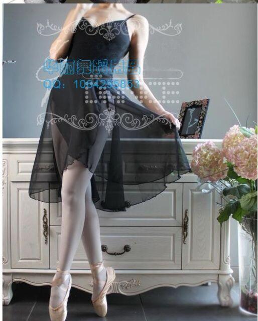 New Adult Chiffon Mid Calf Length Ballet Leotard Wrap Scarf Skirt Dance Dress