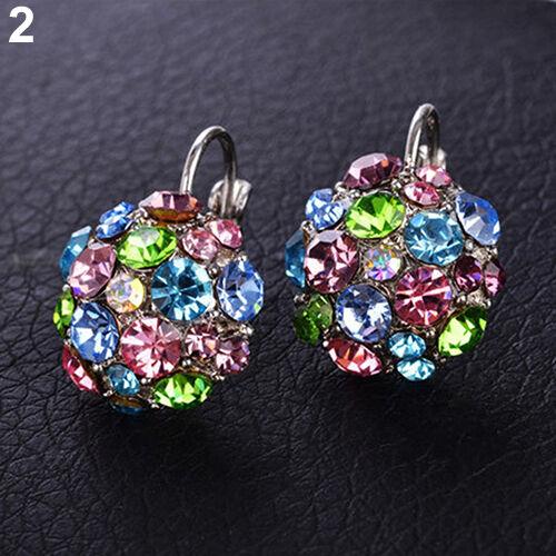 EG/_ Women/'s  Wedding Party Colorful Zircon Silver Tone Eardrop Leverback Earring