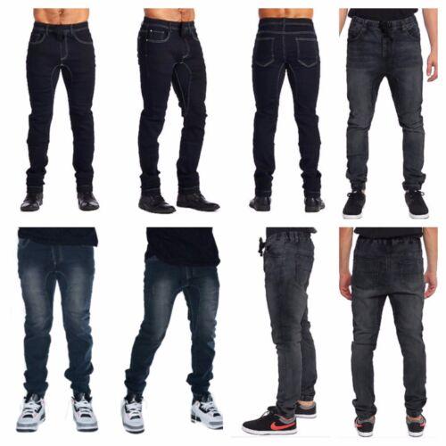 Mens Jogger Pants Elastic Washed Denim Jean Pants Urban Casual Trouser Hipster