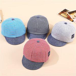 Baby Boy Girls Toddler Summer Cotton Hats Striped Baseball Cap Beret ... d6bdbd5c1efb