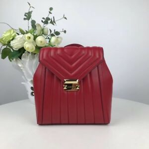 1a66d68fcce991 Image is loading 100-Michael-Kors-Whitney-Quilted-Leather-Backpack-Red-