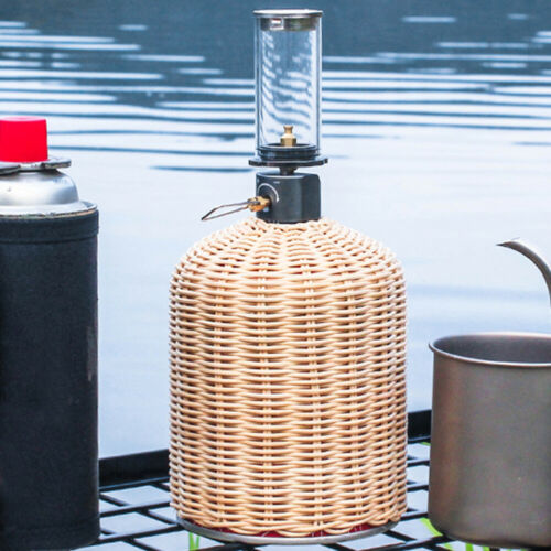 450g Gas Cylinder Cover Outdoor Camping Rattan Gas Tank Protector Pouch