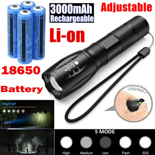 Details about  /Police Tactical T6 LED Flashlight Zoom Torch Lamp//Rechargeable Battery//Charger