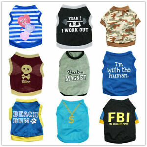d575922a05792 Details about Wholesale 9 PCS Lot Boy Dog Shirt Clothes Male Pet Cat Puppy  Vest Clothing XS-L