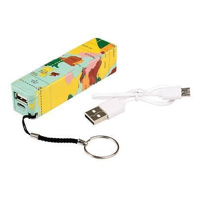dotcomgiftshop WORLD MAP PORTABLE USB CHARGER - KEYRING POWER BANK