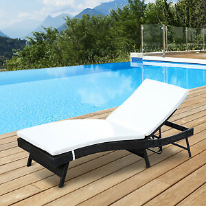 Outsunny Rattan Wicker Chaise Lounge Adjustable Patio Sofa Furniture W Cushion