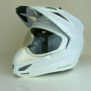 NEW-ICON-VARIANT-SOLID-GLOSS-WHITE-DUAL-SPORT-MOTORCYCLE-HELMET-XL-X-LARGE