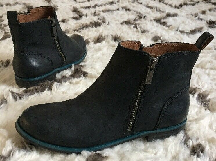 Lucky Brand Black Leather Dalia Zip Ankle Boot Women's Size 5.5 US