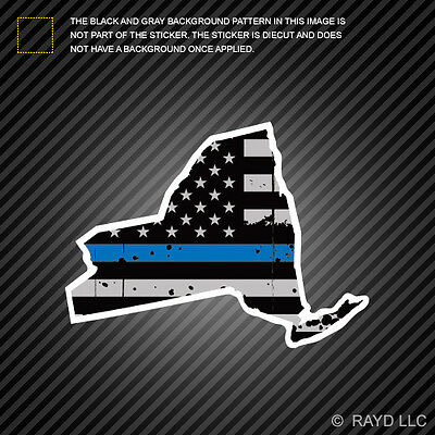Distressed New York State Shaped Subdued US Flag Thin Blue Line Sticker police