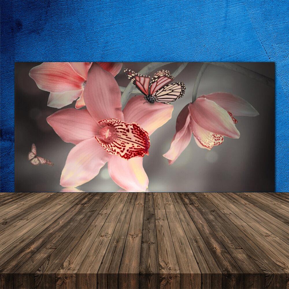 Crédence de cuisine en verre Panneau 120x60 Floral Fleurs Papillon