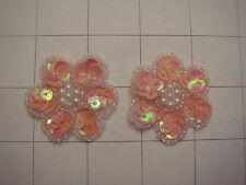 "1.25"" Coral AB Sequins Flower Applique Set of 2 Pearl Center (A-66)"