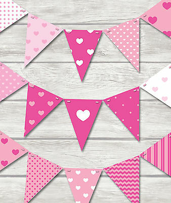 PINK HEARTS BUNTING - BUY 2 GET 1 FREE!! PLAY ROOM/BEDROOM/BIRTHDAY-18 FLAGS!!