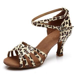 Free-Shipping-Brand-New-Leopard-Women-039-s-Ballroom-Latin-Tango-Dance-Shoes-heeled