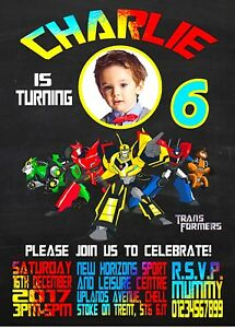 Transformers birthday party invitations invites personalised x 10 ebay image is loading transformers birthday party invitations invites personalised x 10 filmwisefo Images