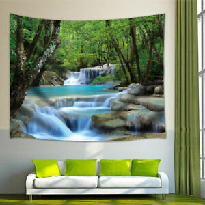 Wall Hanging Tapestry Frondent Tree and Great Waterfall Print Tapestry Room Deco