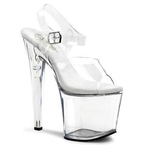 Pleaser TABOO-708 Platform Pole Dance Clear Ankle Strap Open Toe High Heel sz 11