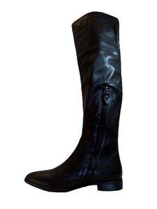Details about Julie Dee Women's Italian Leather 6627 Flat Knee High Boots Black